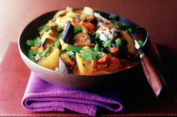 Aubergine and potato curry