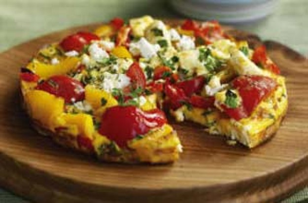 Feta and pepper frittata