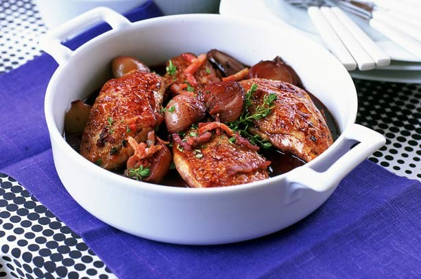 Quick coq au vin (chicken in red wine)