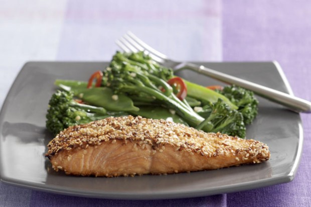 Sesame Salmon Fillets and Stir Fry Vegetables