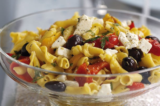 Roasted Pepper Olive and Feta pasta salad