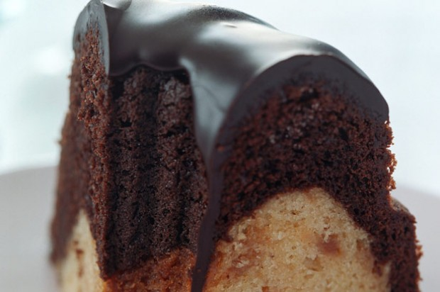 Chocolate and orange marble layer cake