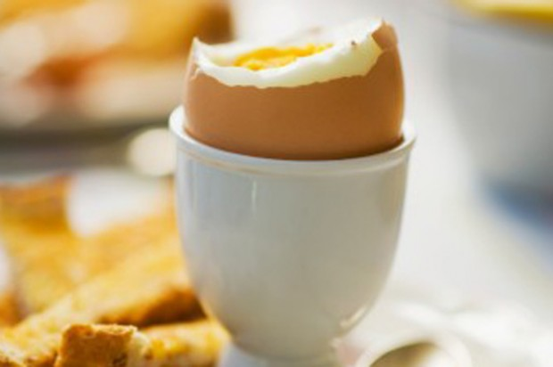A soft-boiled egg with soldiers