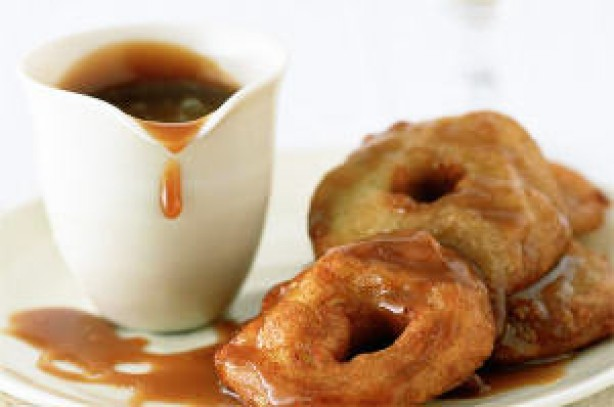 Apple fritters with apple brandy butterscotch sauce
