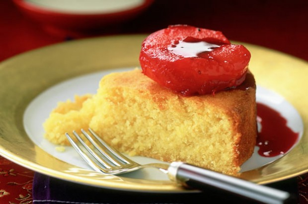 Almond Pudding with Plum Compote