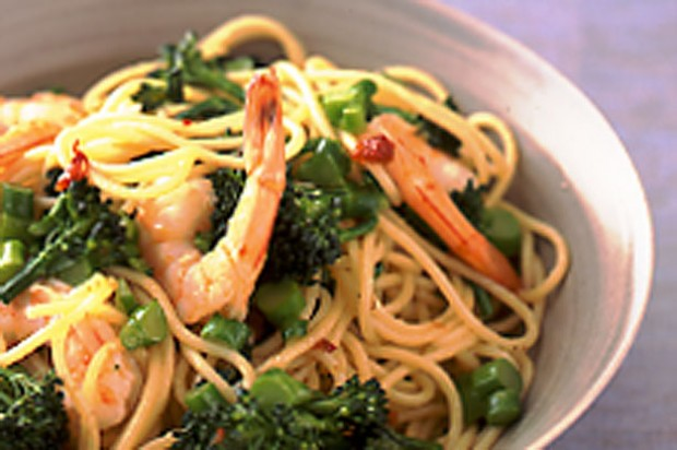 Chilli Prawn and Brocoli Spaghetti