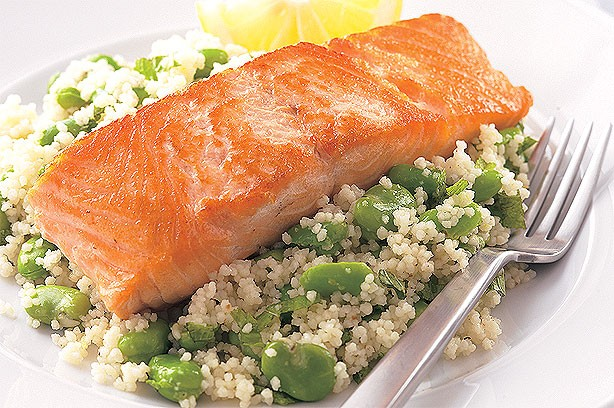 Salmon with broad bean couscous recipe