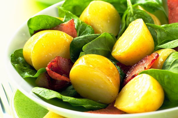 Warm potato and spinach salad
