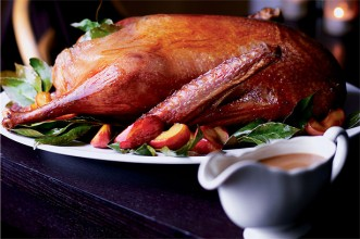 Roast Goose with Apples and Bay Leaves