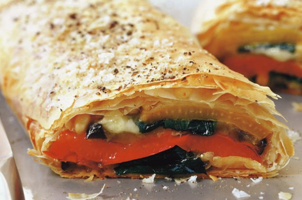 Pepper mozzarella strudel