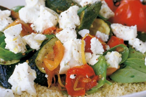 Roast vegetable and feta salad