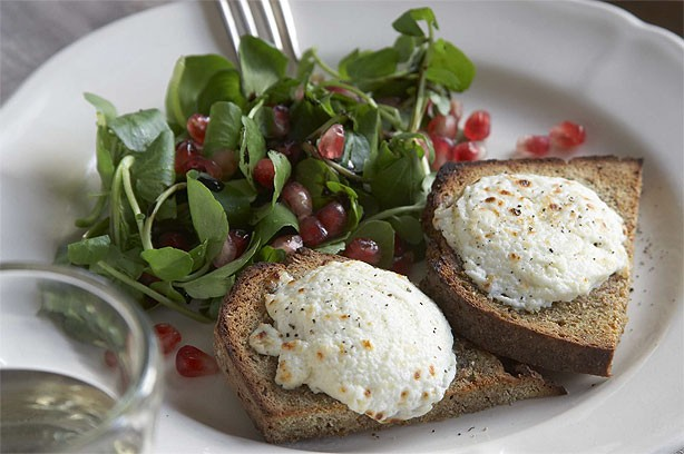 Marinated goat's cheese and watercress salad on homemade soda bread