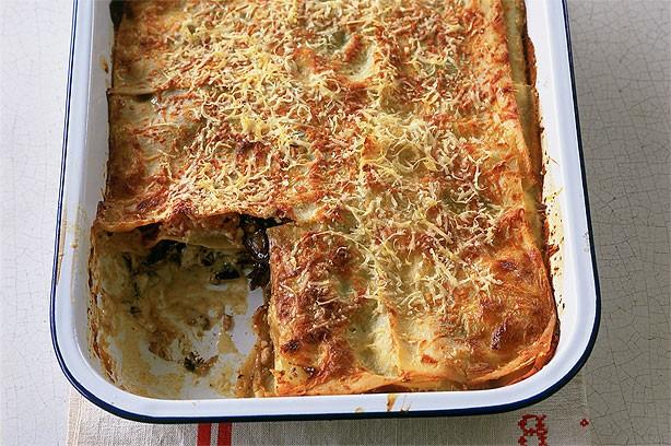Parma ham and porcini mushroom lasagne