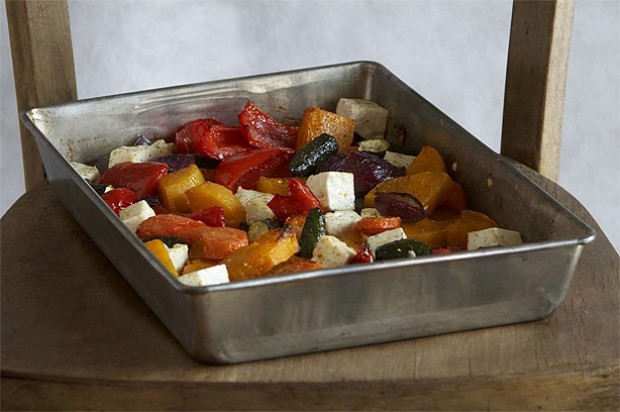 Roast Vegetables with Honey and Feta Cheese