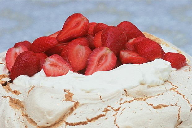 Strawberry and Amaretto Pavlova
