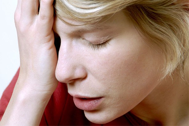Woman struggling to think