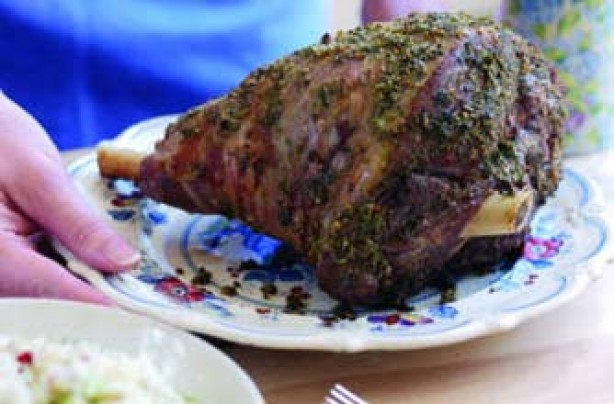 Roast lamb with fennel and mustard butter