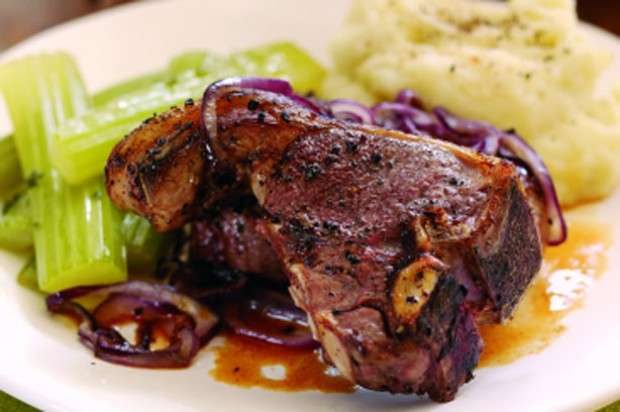 Pan fried chops with red onion and braised celery