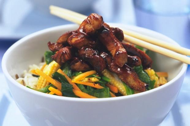 Plum and pork stiry-fry
