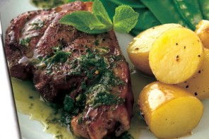 Lamb steaks with mint salsa