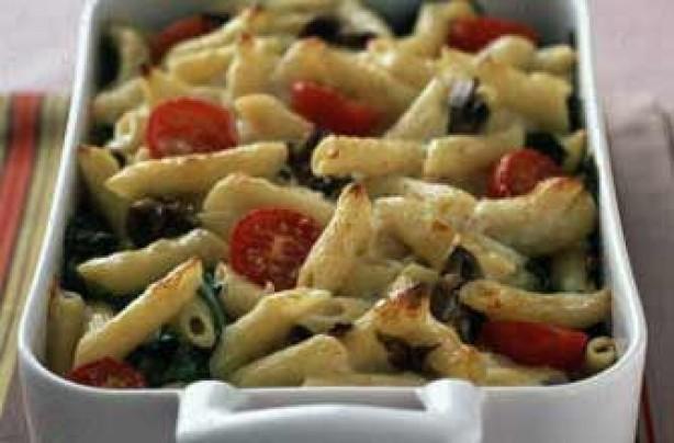 Garlic mushroom pasta bake