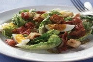 Warm egg and bacon salad