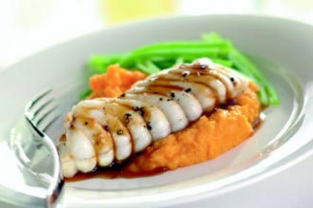 Grilled monkfish with sweet chilli glaze