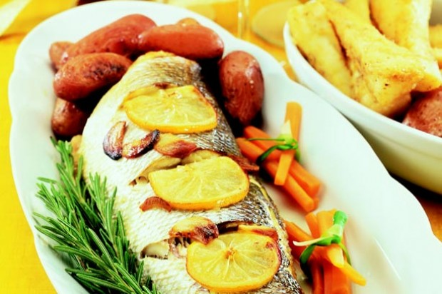 Whole roast sea bass