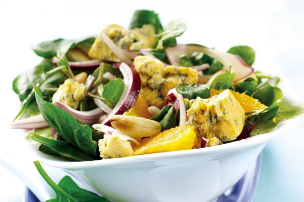 Shropshire blue, orange and spinach salad