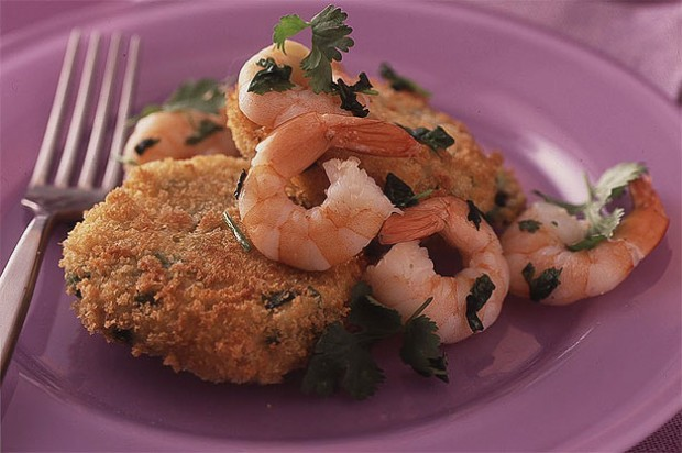 Potato Cakes with Stir Fry Prawns