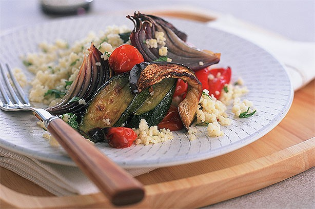 Roast Mediterranean Vegetables with Mint Cous Cous