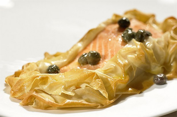 Filo Wrapped Salmon with Caper Butter