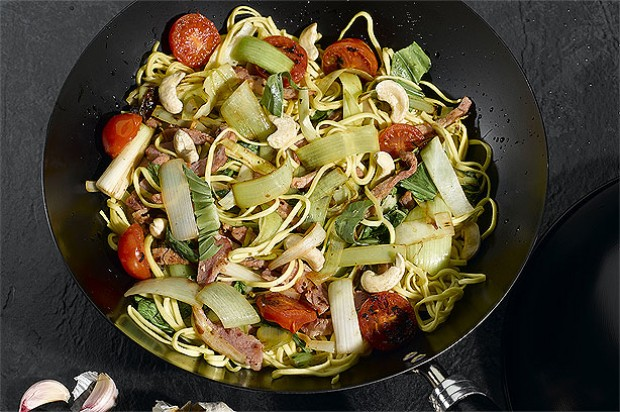 Leek and Bacon Stir Fry with Cashews