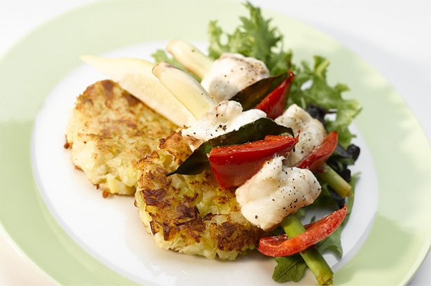 Leek and Potato Rosti with Monkfish Kebab