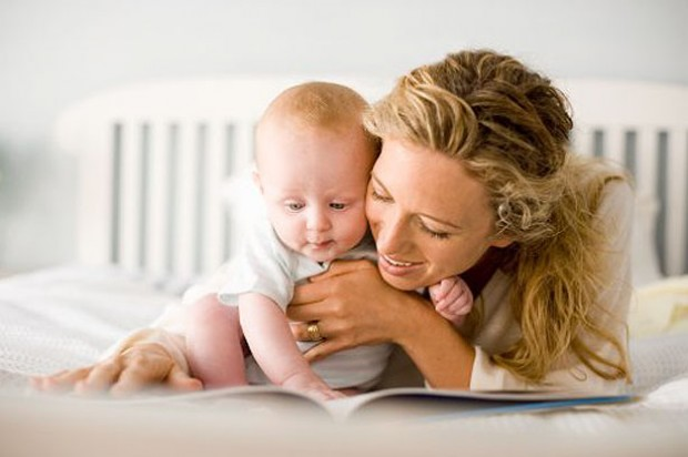 mohter baby reading book play happy