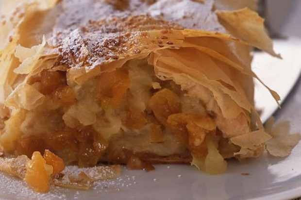 Apple and apricot strudel