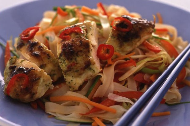 Coconut crusted chicken with rice noodles