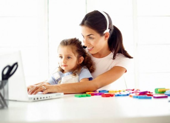 Woman Child Computer playing work learn