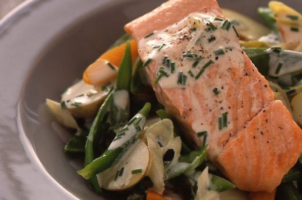 Poached salmon with spring veg