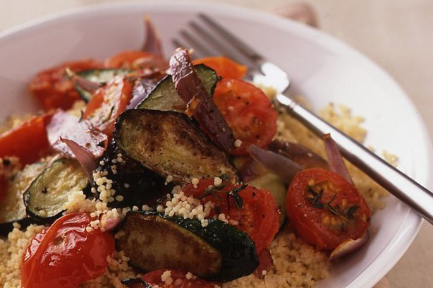 Roast courgette couscous recipe