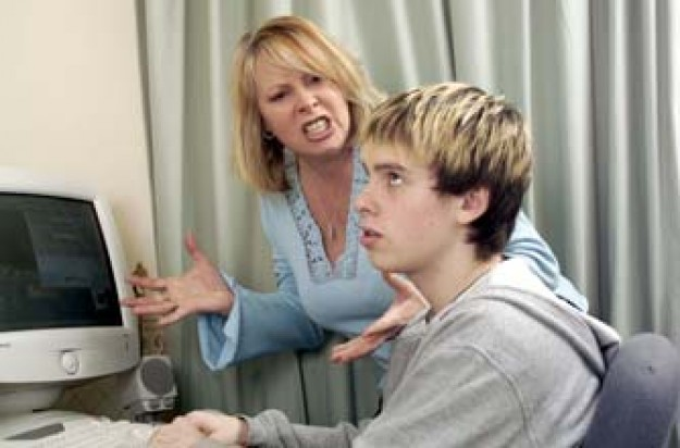 Mum and teen boy arguing