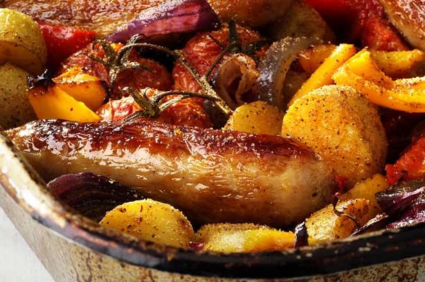 Sausage and roast veg bake recipe - goodtoknow