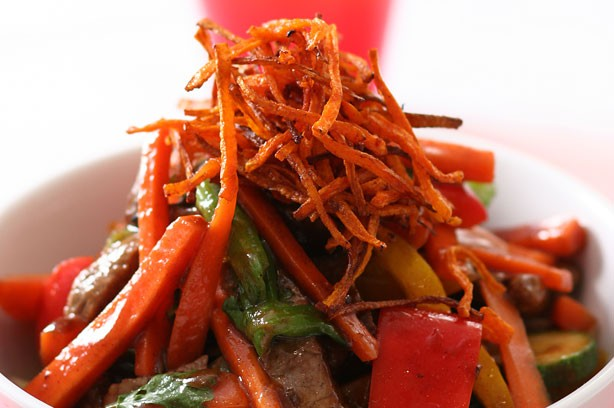Beef stir-fry with carrots recipe