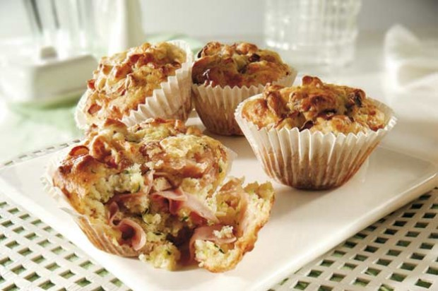 Turkey Ham Cheese Mustard Courgette Muffins
