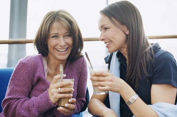 Two women drinking in a cafe