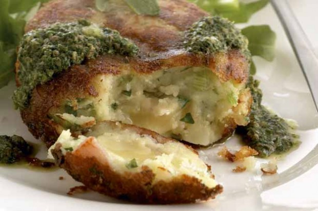 Potato Cake with Brie and Salsa Verde