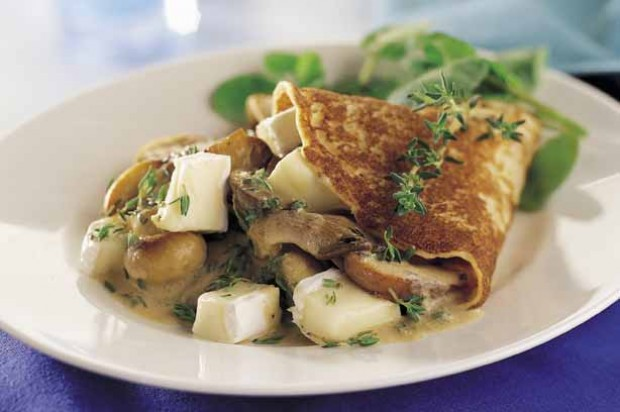 Mushroom and Brie Crepes