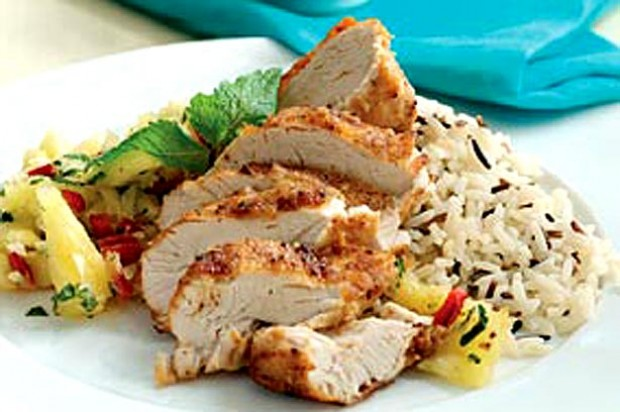 Cajun spiced chicken with pineapple salsa