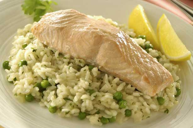 Salmon on lemon and herb risotto recipe - goodtoknow