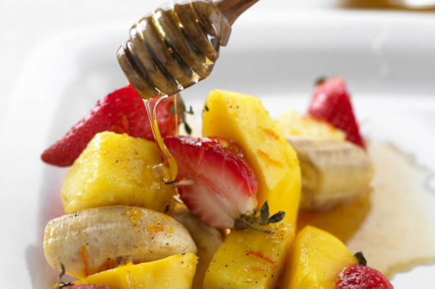 Grilled fruit kebabs with a honey glaze recipe - goodtoknow